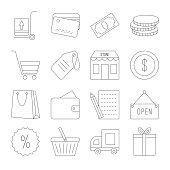 Line shopping icons set