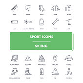 Line sport icons set. Skiing