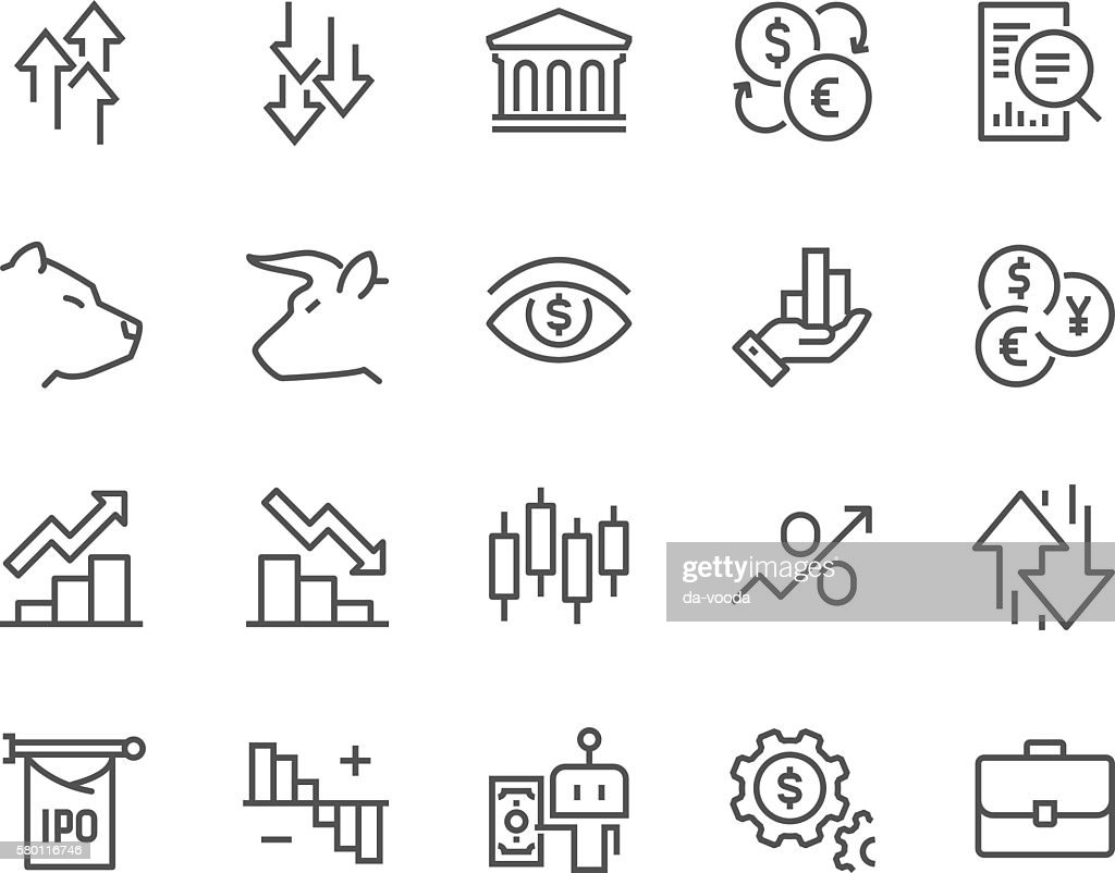 Line Stock Market Icons