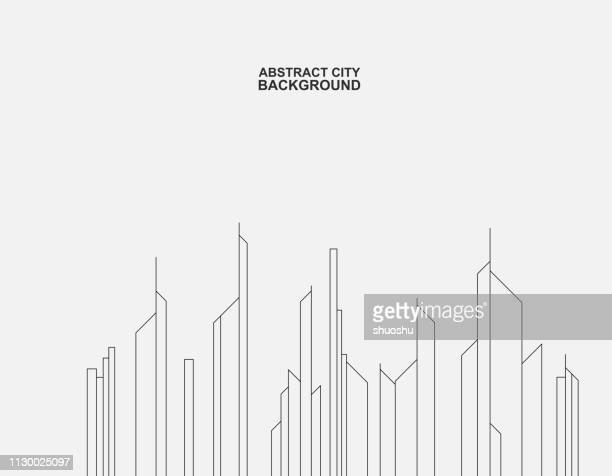 line structure city building background - city life stock illustrations