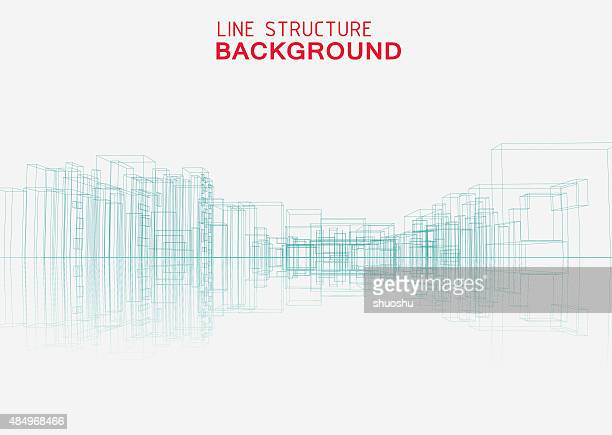 line structure city building background - architecture stock illustrations