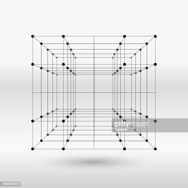 ilustrações, clipart, desenhos animados e ícones de estrutura do cubo linha - armação de madeira