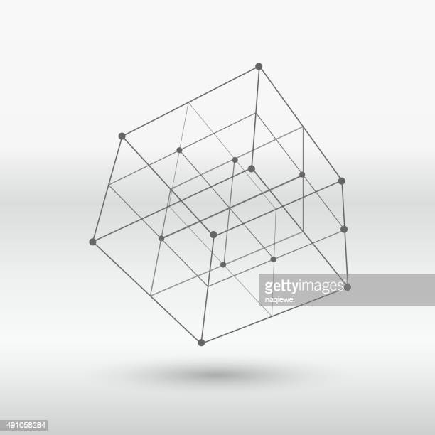 line structure cube - architecture stock illustrations