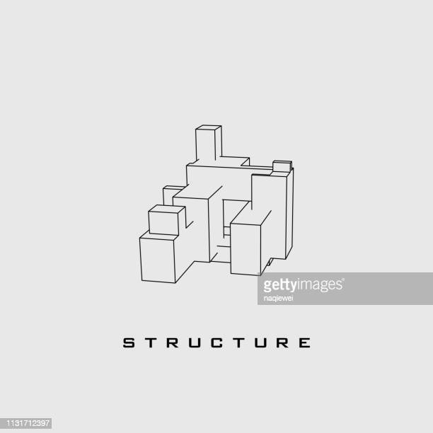 3d line structure sketch industry pattern - wire frame model stock illustrations