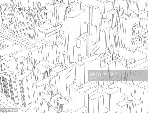 線構造スタイル現代都市建築イラスト - 様式点のイラスト素材/クリップアート素材/マンガ素材/アイコン素材