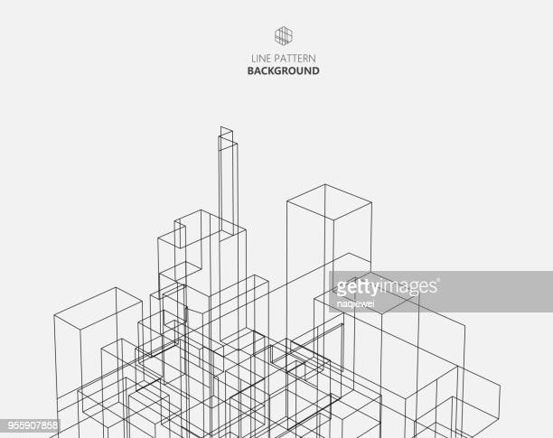 line style city architecture structure - architecture stock illustrations
