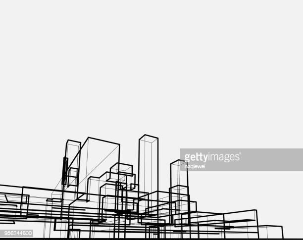 illustrations, cliparts, dessins animés et icônes de structure d'architecture ville ligne style - élégance