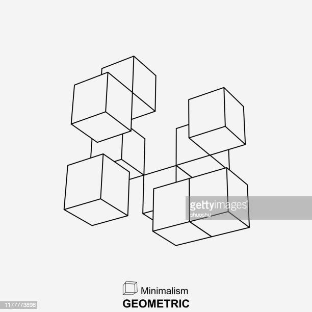 line style geometric cube group pattern - point of view stock illustrations