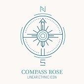 Line style nautical wind rose illustration,