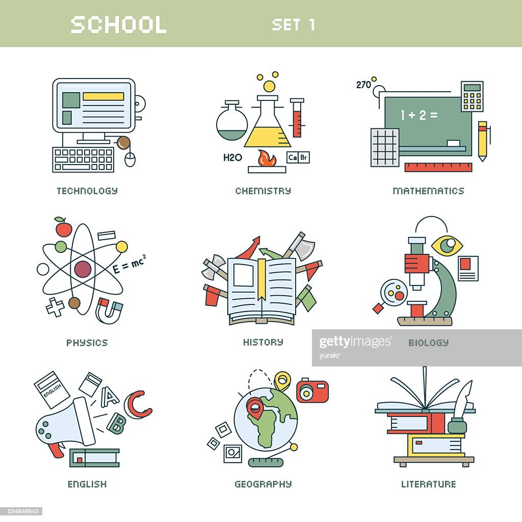 Line style school subjects