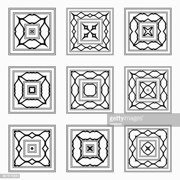line style square pattern icon collection - home decor stock illustrations, clip art, cartoons, & icons