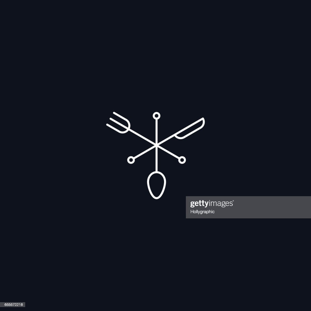 Line Symbol, Fork, spoon and knife, vector design element