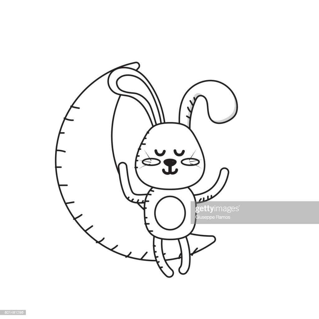 line teddy rabbit seated in the moon