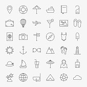 Line Travel Icons Big Set