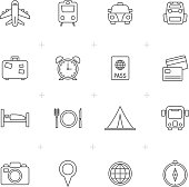 Line Travel, trip and transportation icons