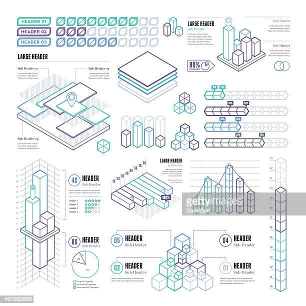 Line UI Infographic Elements - Rectangular and Cubes