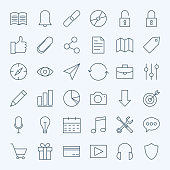 Line Universal Web and Mobile User Interface Icons Set