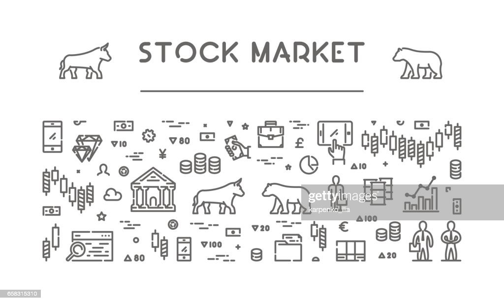 Line vector banner for stock market