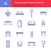 Line vector icons collection of furniture