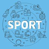 Line vector illustration presentation sport