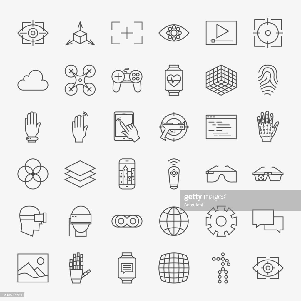 Line Virtual Reality Design Icons Big Set