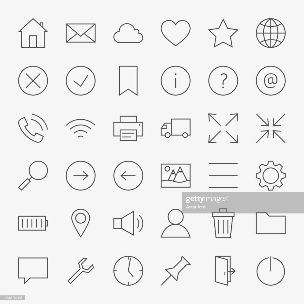 Line Web and User Interface Design Icons Big Set