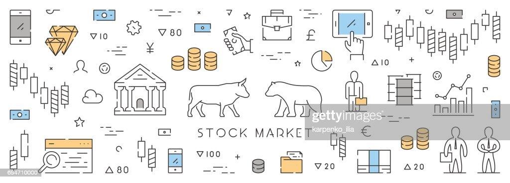 Line web banner for stock market