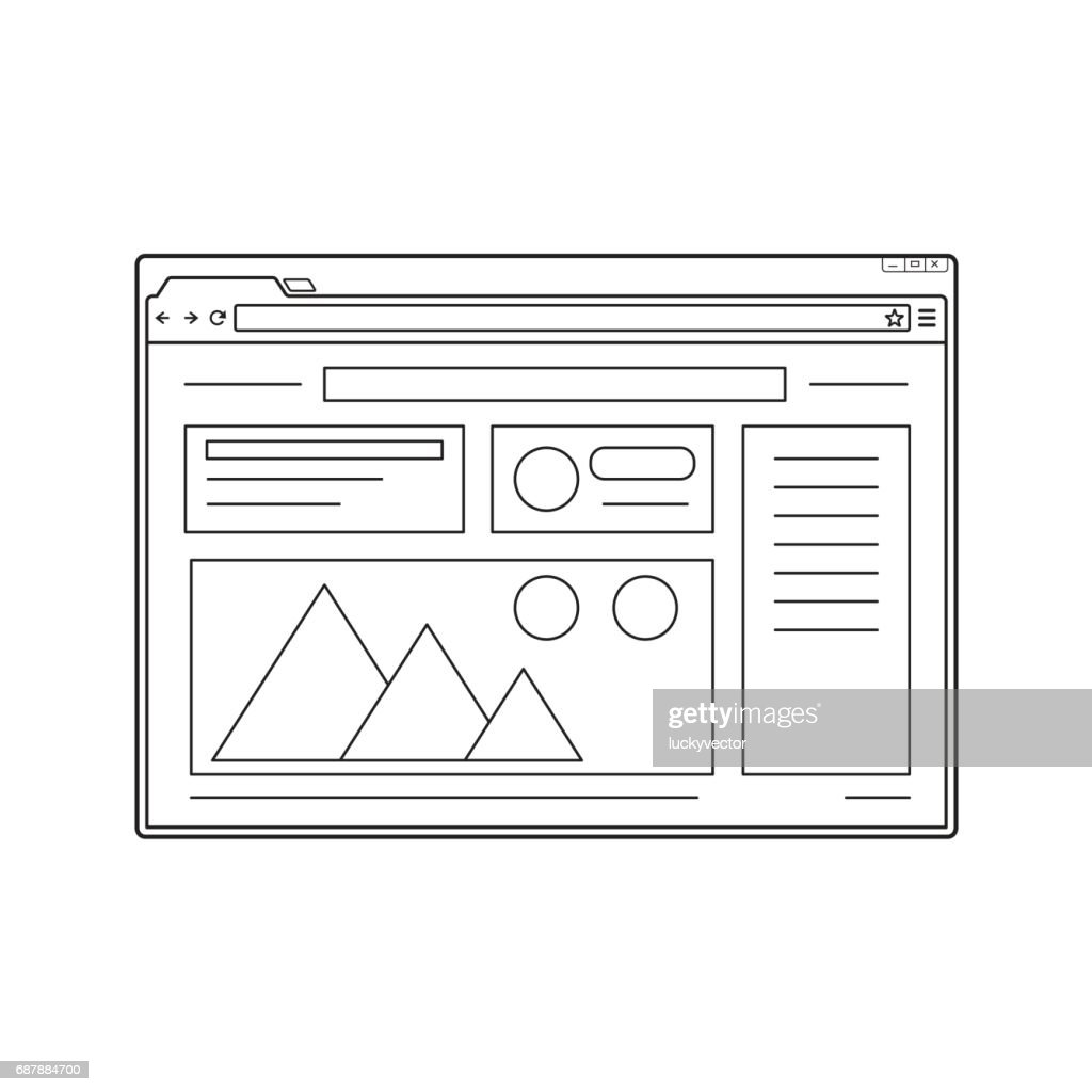 Line web browser window mockup. Website page template.
