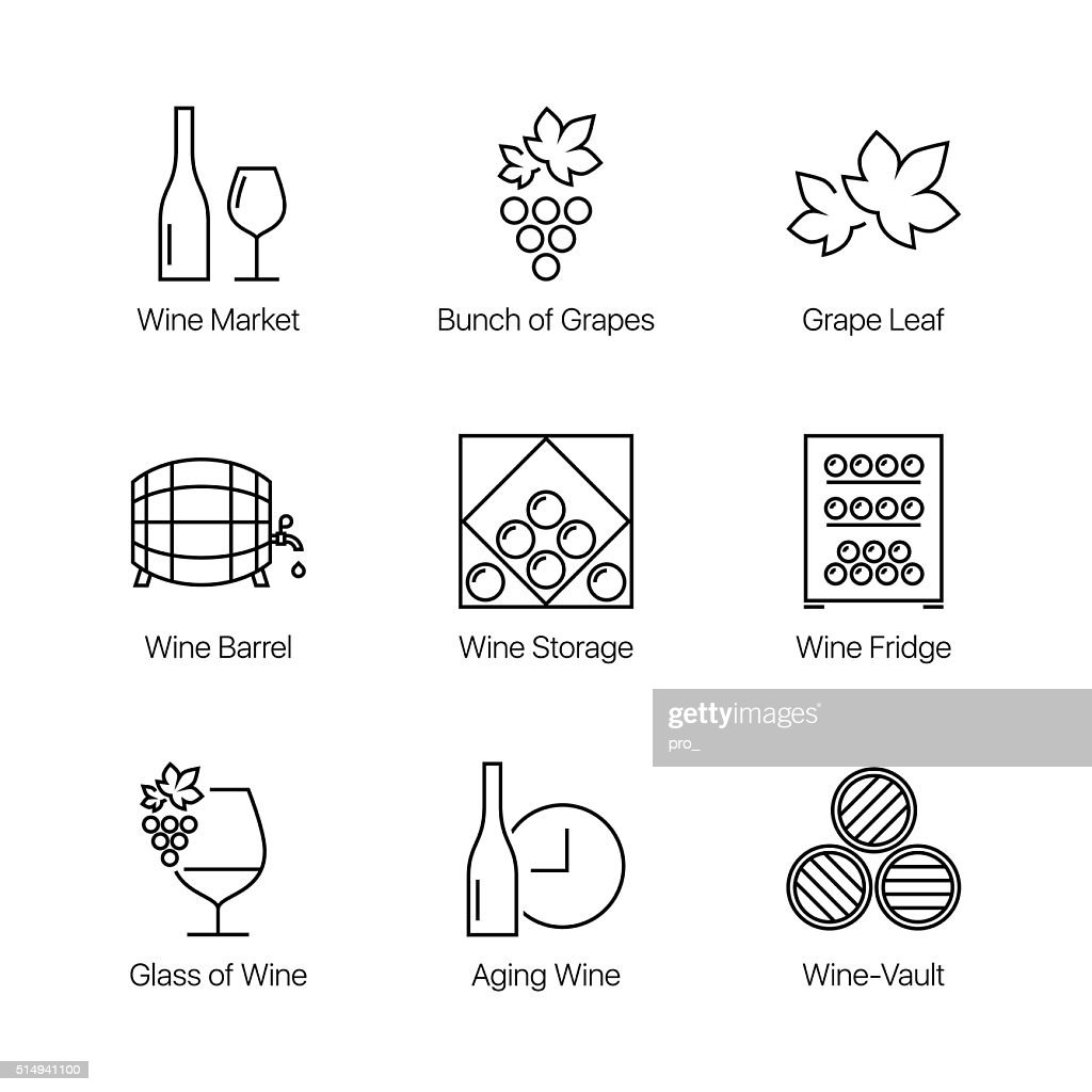 line wine icons set