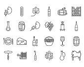 line wine icons
