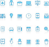 Line with blue background Business and office icons