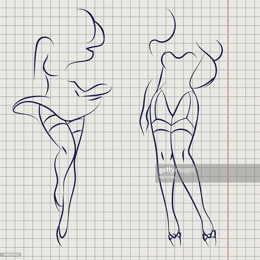 Line woman silhouettes on notebook background