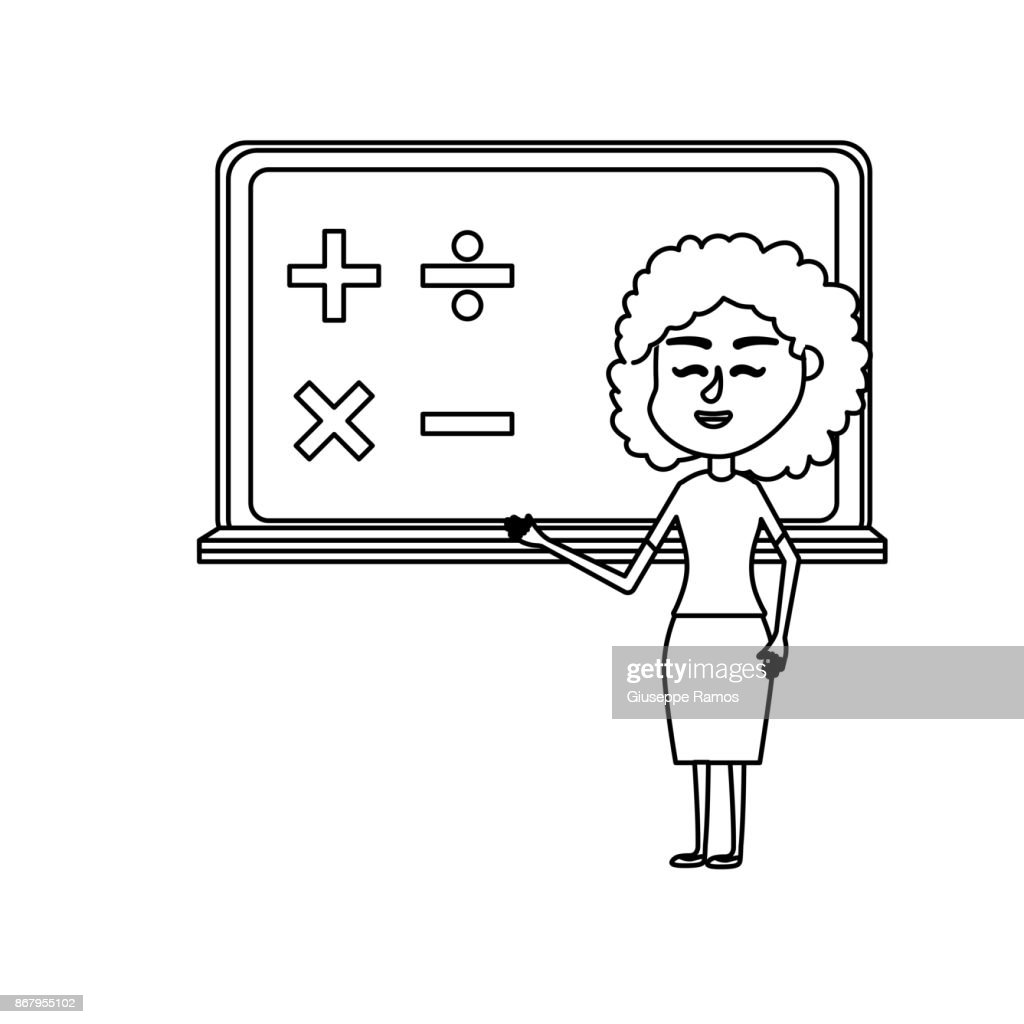 line woman teacher teaching to the student in the blackboard