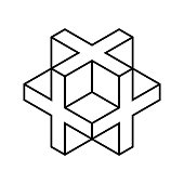 Linear 3D cross or plus sign. Isometric cube shape made of crosses.