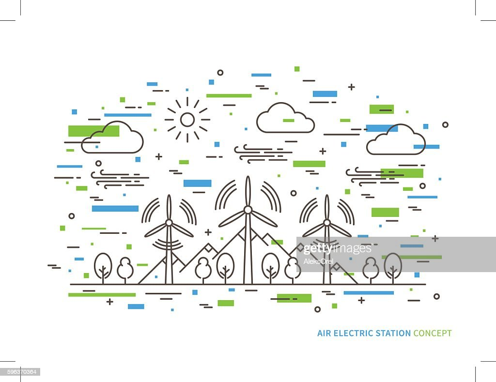 Linear air electric station vector illustration