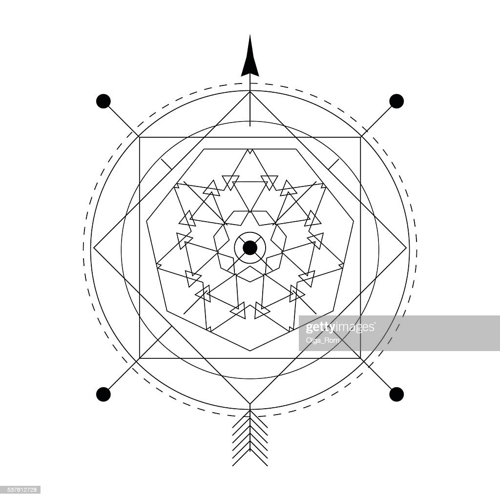 Linear alchemy, occult, philosophical sign.