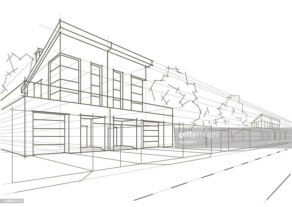 Linear Architektonische Skizze Design Hauser Stock