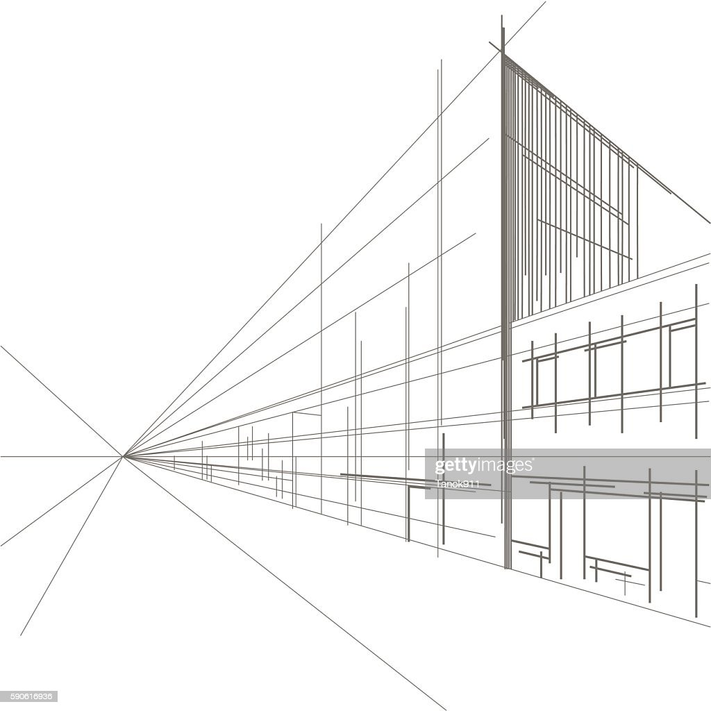 linear architectural sketch perspective of street