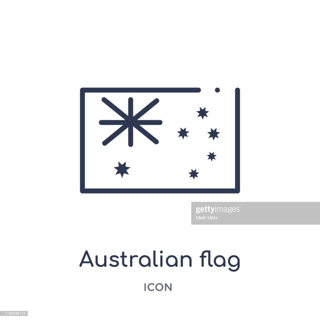 Linear australian flag icon from Culture outline collection. Thin line australian flag vector isolated on white background. australian flag trendy illustration