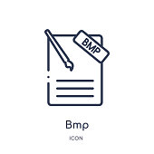 Linear bmp icon from File type outline collection. Thin line bmp vector isolated on white background. bmp trendy illustration