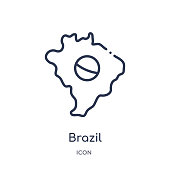 Linear brazil icon from Brazilia outline collection. Thin line brazil vector isolated on white background. brazil trendy illustration