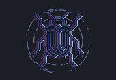 Linear bug in techno style. Vector illustration on black background.
