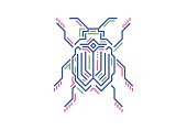 Linear bug in techno style. Vector illustration on white background.