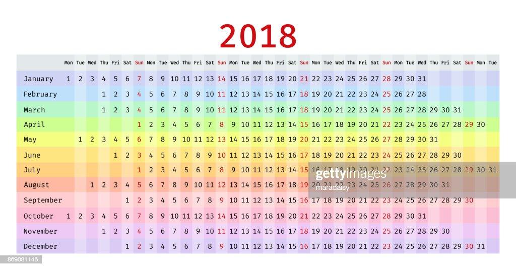 2018 linear Calendar. Vector template planner.