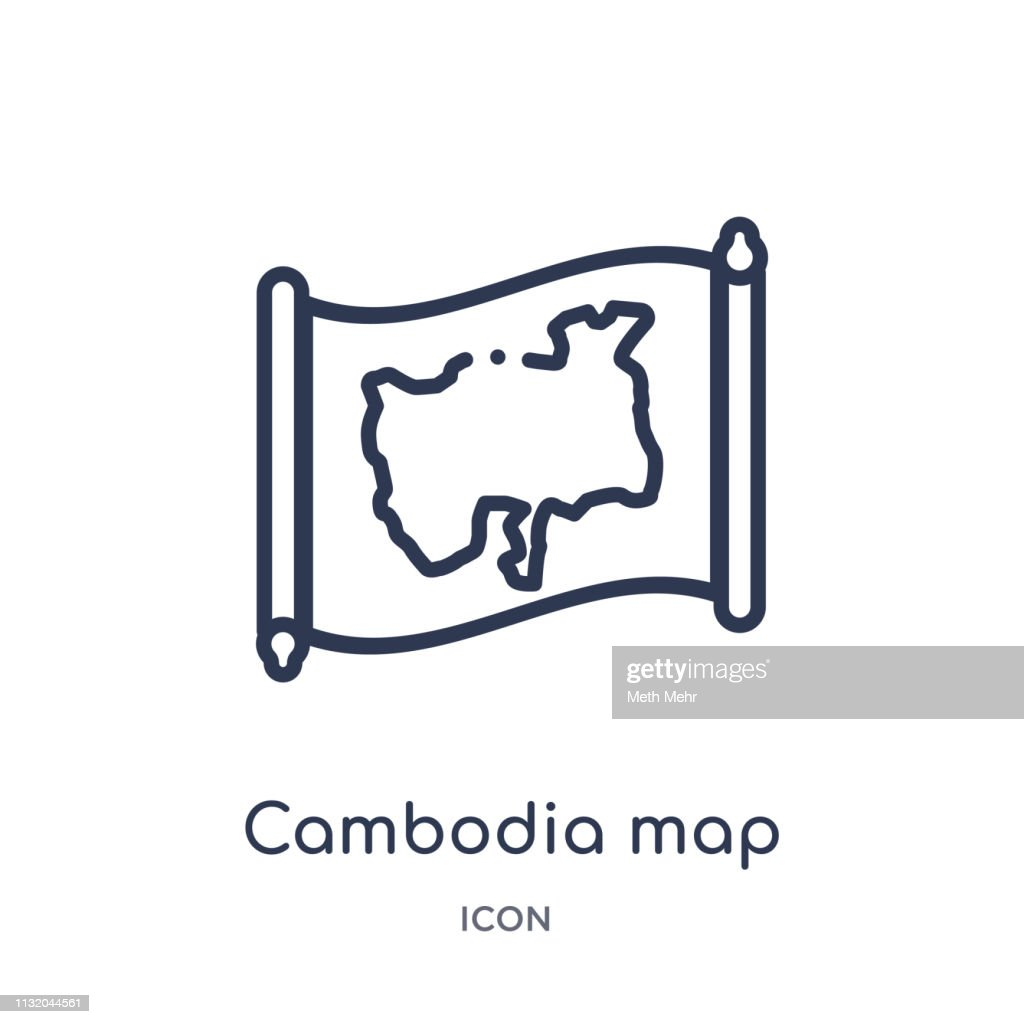 Linear cambodia map icon from Countrymaps outline collection. Thin line cambodia map vector isolated on white background. cambodia map trendy illustration