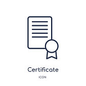 Linear certificate icon from Delivery and logistic outline collection. Thin line certificate vector isolated on white background. certificate trendy illustration