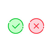 linear check mark icon like tick and cross