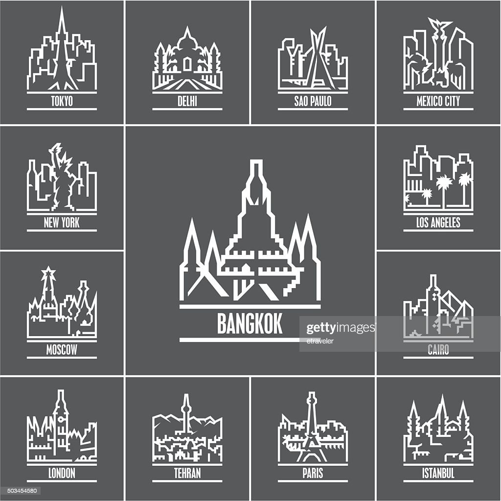 linear cities of the world icons