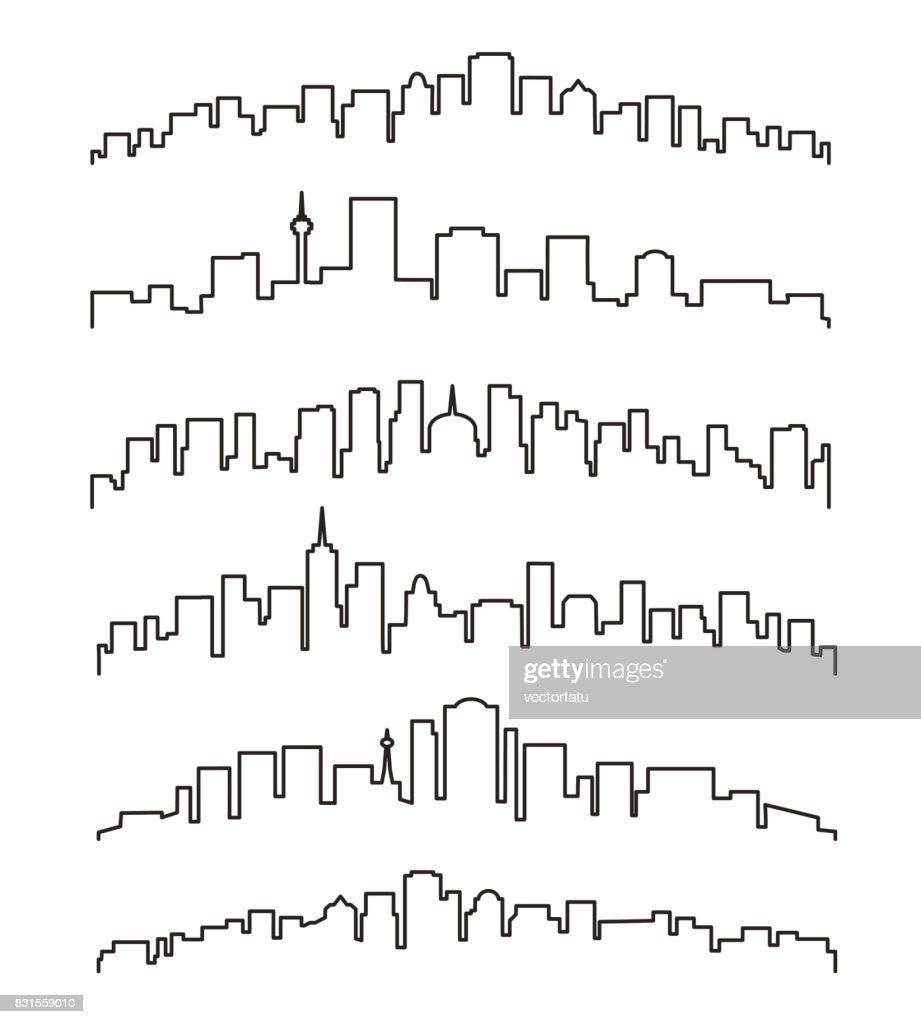 Linear cityscape or urban skyline
