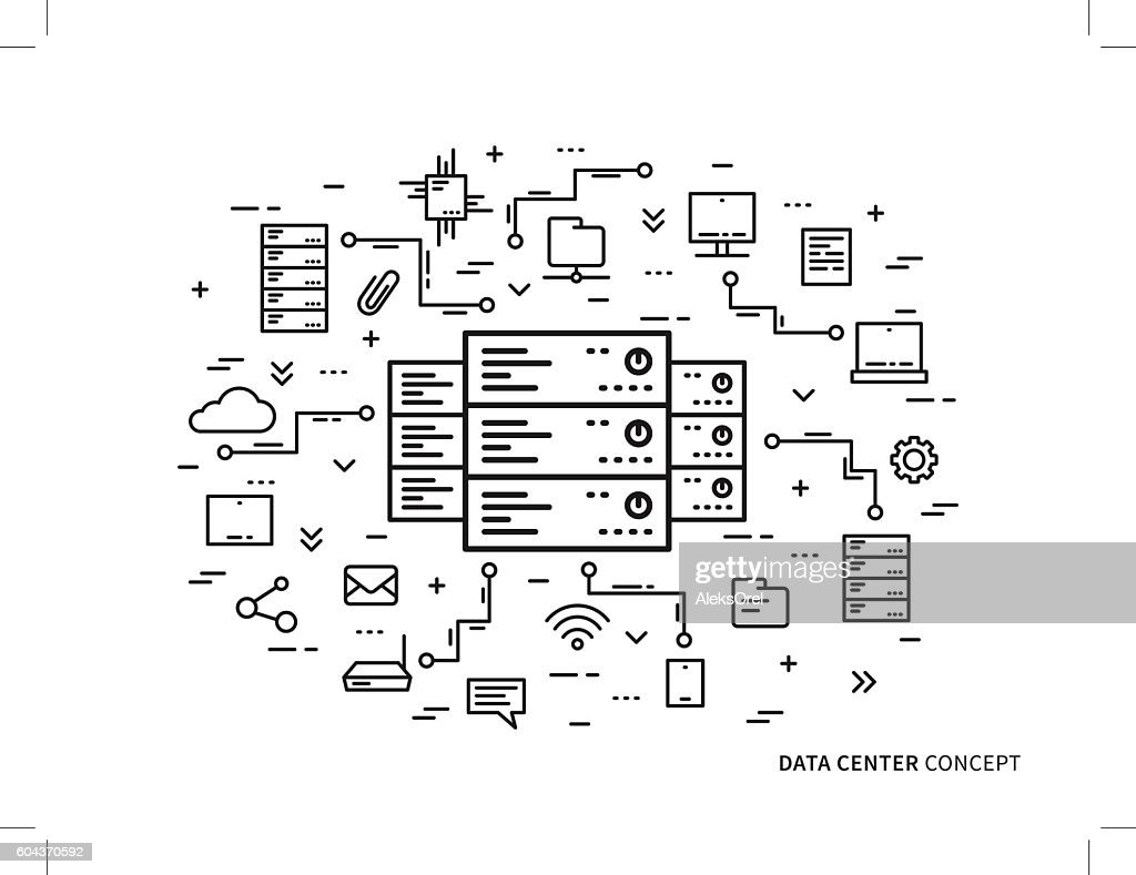 Linear data center server park hosting vector illustration